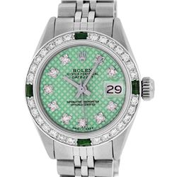 Rolex Ladies Stainless Steel Green Stamp Diamond & Emerald Datejust Wristwatch