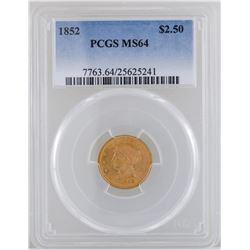 1852 $2 1/2 Liberty Head Quarter Eagle Gold Coin PCGS MS64