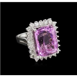 15.37 ctw Kunzite and Diamond Ring - 14KT White Gold