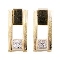 0.40 ctw Diamond Earrings - 14KT Yellow Gold