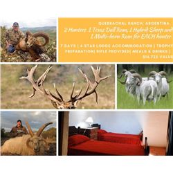 Argentina 1 Texas Dall Ram, 1 Hybrid Sheep, and 1 Multi Horn Ram each for 2 Hunters