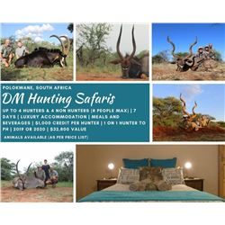 4 Hunters & 4 Observers Enjoying Plains Game