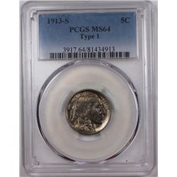 1913-S T-1 BUFFALO NICKEL