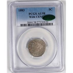 1883 WITH CENTS LIBERTY NICKEL PCGS AU 58