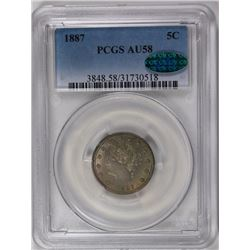 1887 LIBERTY NICKEL PCGS AU 58 CAC