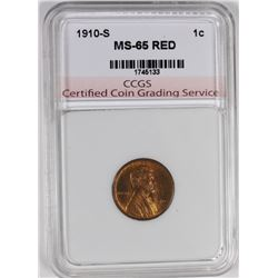 1910-S  LINCOLN CENT CCGS GEM