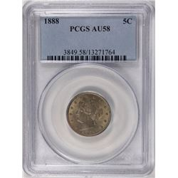 1888 LIBERTY NICKEL PCGS AU 58.