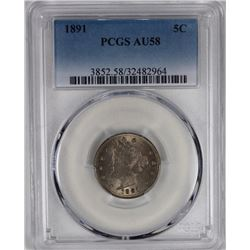1891 LIBERTY NICKEL PCGS AU 58