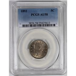 1893 LIBERTY NICKEL PCGS AU 58