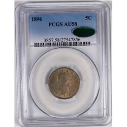 1896 LIBERTY NICKEL PCGS AU 58