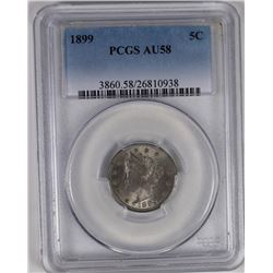 1899 LIBERTY NICKEL PCGS AU 58