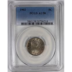 1902 LIBERTY NICKEL PCGS AU 58