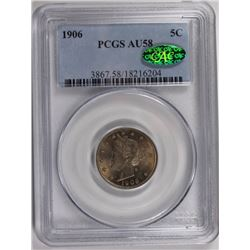 1906 LIBERTY NICKEL PCGS AU 58.