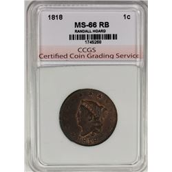 1818 LARGE CENT FROM THE FAMOUS RANDALL HOARD