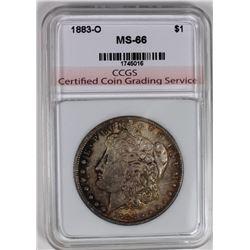1883-O MORGAN SILVER DOLLAR CCGS SUPERB BU
