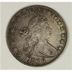 1806 POINTED 6 BUST HALF DOLLAR VF/XF