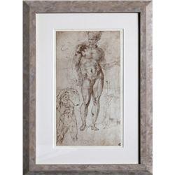 Michelangelo, Studio per un Mercurio-Apollo, Disegni di Michelangelo, Lithograph