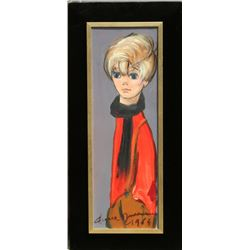Pierre Durrieu, Girl, Oil Painting,
