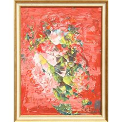 Frank, Abstract Flowers on Red, Oil Painting,