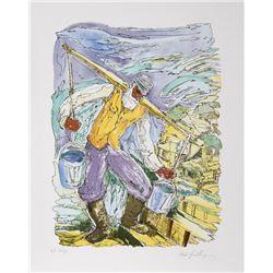 Chaim Goldberg, Water Carrier, Lithograph