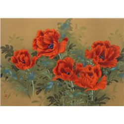 David Lee, Poppies (9), Lithograph