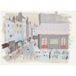 Charles Levier, City Street, Watercolor Painting