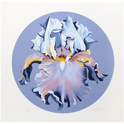 Lowell Blair Nesbitt, Iris on Blue III, Serigraph