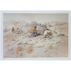 Charles Marion Russell, Indian Stalking Elk, Lithograph