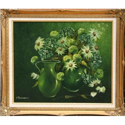 Esther Scandale, Flower Still Life in Green, Oil Painting
