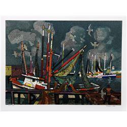 Millard Owen Sheets, Fisherman, Lithograph