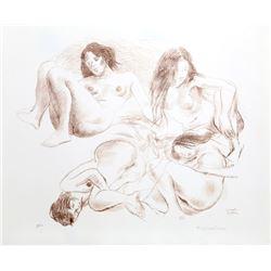 Raphael Soyer, Four Women (Sepia), Lithograph