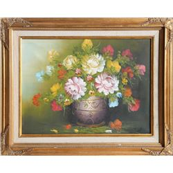 Flowers in a Vase, Oil Painting by Unknown Artist