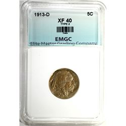 1913-D TYPE-2 BUFFALO NICKEL EMGC XF