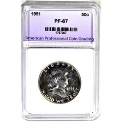 1951 FRANKLIN HALF DOLLAR, APCG SUPERB GEM PROOF
