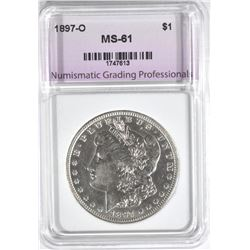 1897-O MORGAN DOLLAR, NGP BU