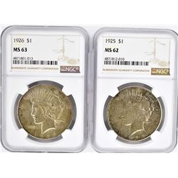 2-NGC GRADED PEACE DOLLARS: