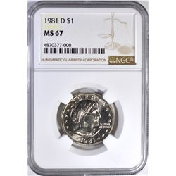 1981-D SUSAN B. ANTHONY DOLLAR, NGC MS-67