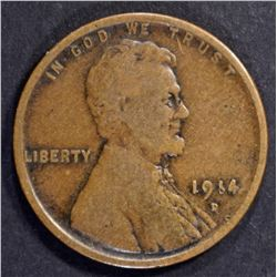 1914-D LINCOLN CENT, VG/FINE KEY DATE