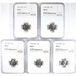5-1966 SMS DIMES NGC MS67