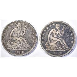 1861 FINE & 1872 VF SEATED HALF DOLLARS