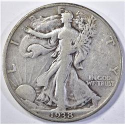 1938-D WALKING LIBERTY HALF DOLLAR, VF/XF KEY DATE