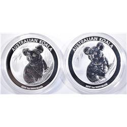 2-2019 AUSTRALIAN 1oz SILVER KOALA COINS