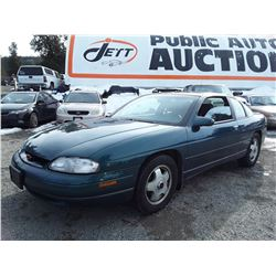 A1 --  1999 CHEVROLET MONTE CARLO , Green , 210497  KM's   No Reserve - Selling to the Highest Bidde