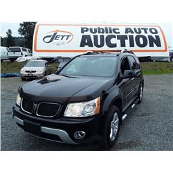 H5 --  2007 PONTIAC TORRENT SUV, BLACK, 258,038 KMS NO DEC'S
