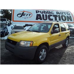 K3 --  2002 FORD ESCAPE XLS , Yellow , 190718  KM's