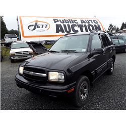 F4 --  2003 CHEVROLET TRACKER XLT , Black , 168855  KM's