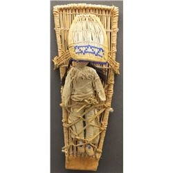 MONO INDIAN BASKETRY CRADLE AND DOLL