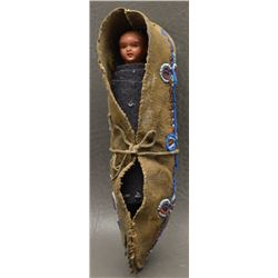 PLAINS INDIAN BEADED CHILD'S TOY CRADLE AND DOLL