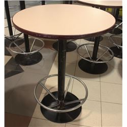 "31"" ROUND BLACK BASE  BAR TABLE W/ FOOT RAIL"
