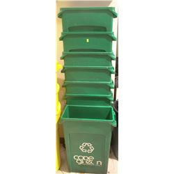 LOT OF 9 GREEN RECYCLING BINS